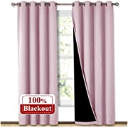 NICETOWN 100% Blackout Window Curtain Panels, Heat and Cold Blocking Drapes with Black Liner for Nursery, 84 inches Thermal Insulated Draperies (Lavender Pink, 2 Pieces, 52 inches Wide Each Panel)
