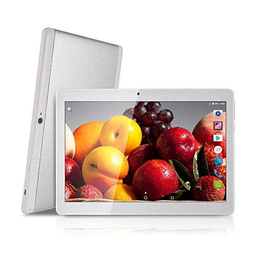 10 inch Tablet Android Octa Core Tablet with 4GB RAM 64GB ROM Tablet PC Built in WiFi and Camera GPS Two Sim Card Slots Unlocked 3G Phone Call Phablet (white)