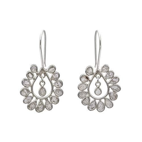 Pendientes delicados de polki de diamantes sin cortar, ligeros, pendientes florales de plata de ley 925, regalo de boda chapado en platino para mujer