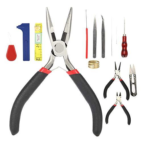 Juwelier tangenset sieraden gereedschap kit, 14 stuks DIY pincet ring haaknaald hoofd schaar kit accessoires tangen sieraden gereedschapsset tang pincet DIY schaar