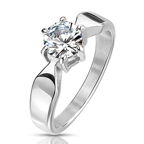 Paula & Fritz® Verlobungs-Ring Silber 5mm breit Klassik Solitär-zirkonia 7mm Clear farblos Weiss Damen-Ring Edelstahlring Freundschaftsring Partnerring R-M6809S_90
