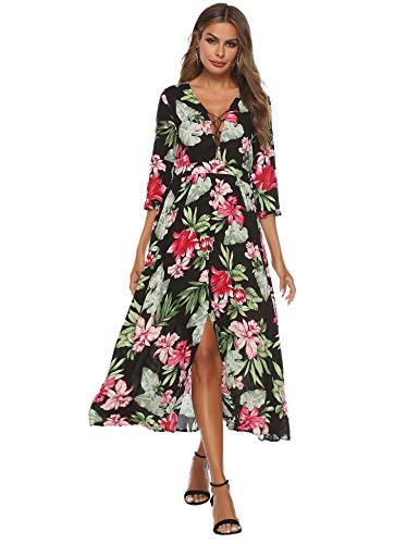 Vestido longo com estampa floral e botões, decote em V profundo, tiras para festa na praia, Preto, X-Large