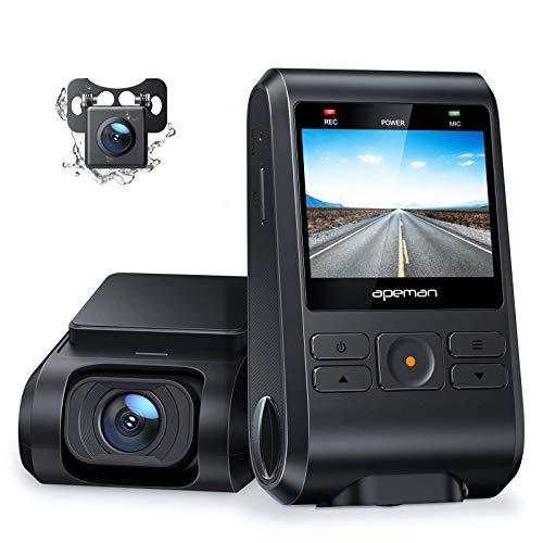 APEMAN Dual Dashcam Unterstützt GPS, FHD 1080P mit Versteckte Autokamera, 2 Zoll IPS Bildschirm, 170° Weitwinkel, WDR Nachtsicht, G-Sensor, Parküberwachung, Loop-Aufnahme