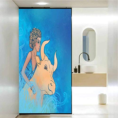 Pegatina extraíble para ventana, Taurus Bull and Muse Espiritual Beauty Spring Season El, decoración para el baño del hogar, 23.6 x 35.4 pulgadas
