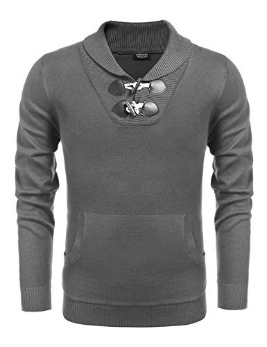 COOFANDY Men's Knitted Slim Fit Shawl Collar Sweater Long Sleeve Pullover Grey