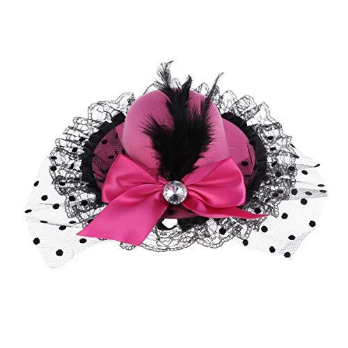 Amosfun plume gaze homburg épingles à cheveux bowknot pince à cheveux partie coiffe performance coiffe pour enfants filles rose rouge