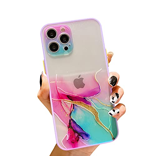 SPOBIT Compatible with iPhone 12 Pro Max 6.7 Inch 5G Marble Print Watercolor Gilt PC Phone Case,Color Border Soft TPU Protective Shockproof Lens Camera Protection Case for iPhone 12 Pro Max - Color