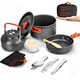 BGVANG Camping Cookware Set Portable Outside Camping Cooking Mess Kit 1-2 Person Pots Pan for Backpacking Hiking Picnic Fishing (Orange)