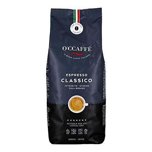 O'CCAFFÈ – Espresso Classico | 1 kg ganze Kaffeebohnen | starker, intensiver Kaffee mit feiner Haselnuss Note | Barista-Qualität aus italienischem Familienbetrieb