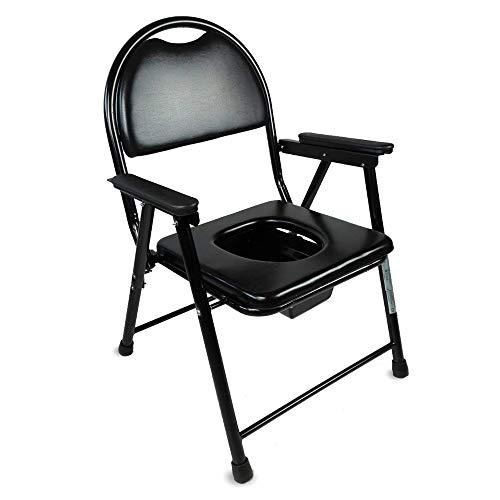 Mobiclinic, Guadalquivir, Silla con WC o inodoro para discapacitados, minusválidos, ancianos, Plegable, Reposabrazos, Asiento ergonómico, Conteras antideslizates, color negro