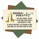 25 Books for Baby Shower Request Cards - Giraffe Baby Shower Invitation Inserts, Book Request Baby Shower Guest Book Alternative, Bring A Book Instead of A Card, Baby Shower Book Request