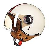 Cascos abiertos, Medio Casco Retro de Motociclista, con Gafas Piloto y Correa De Liberación Rápida Cascos Half-Helmet, para Hombres y Mujeres, Aprobado por Dot/ECE