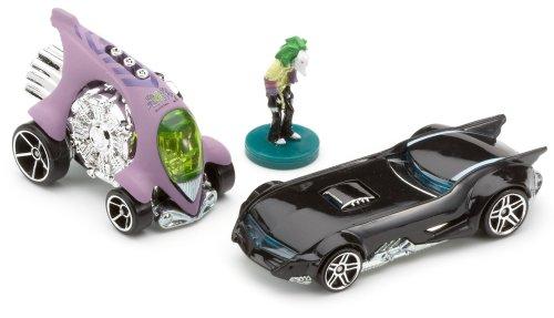 Hot Wheels Mattel - Voiture Miniature Pack De 2 Super Heros Batman - 2 Voitures et la Figurine Joker