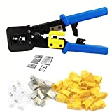 RJ45 Crimp Tool 6P 8P Multi-function Cable Cutter Pass Through Crimper Ethernet Cable Connector Crimping Tool Ratcheting Hand Tools Bonus CAT6 Connector 20 Pack-Blue