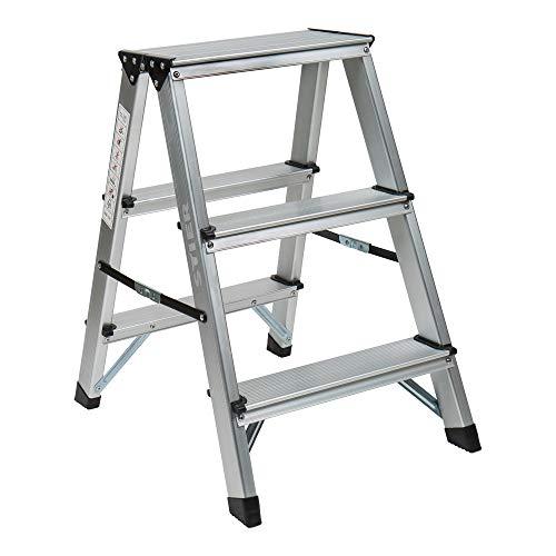 STIER Trittleiter, 2x3 Stufen beidseitig, Tragfähigkeit: 150 kg, 3 Stufen Leiter, Dreitritt, Alutritt, 3 Sprossen Leiter, Klappleiter 3 Stufen