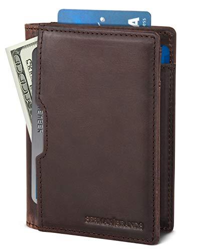SERMAN BRANDS Wallets for Men Slim Mens leather RFID Blocking Minimalist Card Front Pocket Bifold Travel Thin (Texas Brown 5.S)