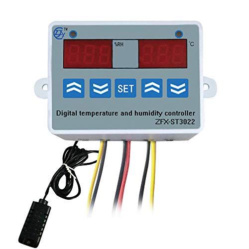 Fesjoy Controlador de Temperatura y Humedad ZFX-ST3022, Controlador de humidistato de termostato de Pantalla Dual Digital para congelador, Nevera, eclosión