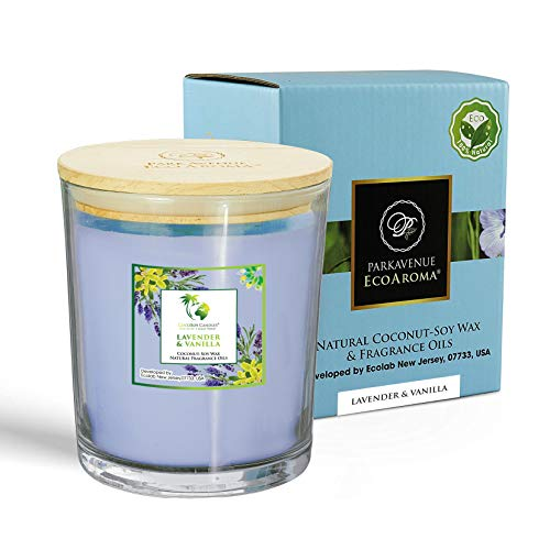 EcoAroma Lavender & Vanilla Premium Scented Coco-Soy Jar Candles Organic Aromatherapy Candles Highly Scented Home Decorative Fragrance Gifts Hand Poured 2 Wicks 20 Oz