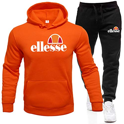 Ellesse Herren Set Hoodies Sporthosen Hip Hop Kapuzen Basic Skateboard Ellesse Cotton Pullover Sweatshirts,Orange,XXXL