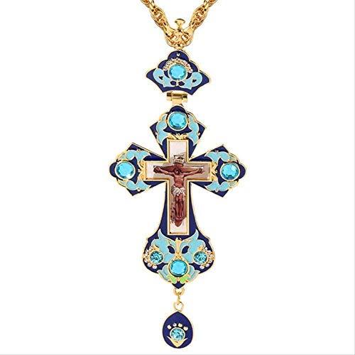 YOUZYHG co.,ltd Collar con Colgante de Cruz católica con Estampado Verde para Hombres y Mujeres con Insignia Grande de Jesús
