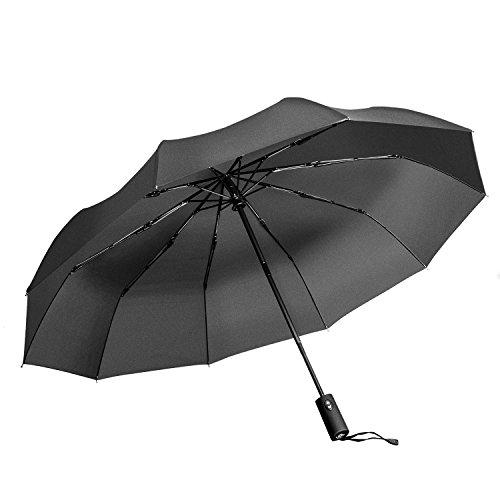 """Ombrello Pieghevole antivento Vanwalk - """"Dupont Teflon"""" 10 rinforzato con resina vetroresina Ribs - Auto Open per chiudere, robusto, portatile e leggero per un facile trasporto, antivento (Nero)"""