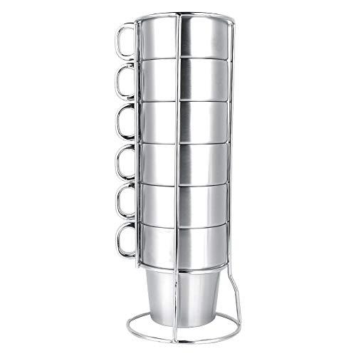 Drinkbeker roestvrij staal koffie thee geïsoleerde stapelbare beker met standaard 7-delige set robuust breukvast voordelige keuken