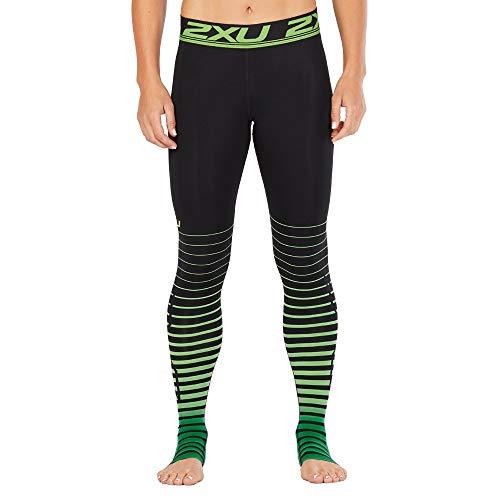 2 x U Femme Elite Power Recovery Compression Collants Large Noir/Vert