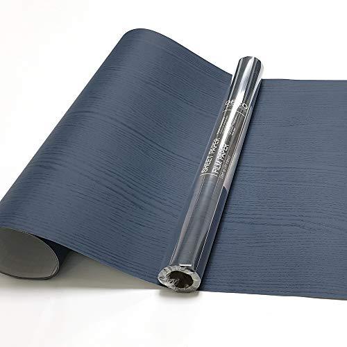 Dark Blue Wood Self Adhesive Paper 19.6'x118' Decorative Self Adhesive Film for...