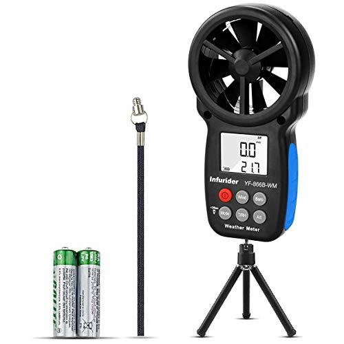 ハンドヘルド風速計 気圧計INFURIDER YF-866BWMコンパクト風量計 風力計 風速/温度計付き風向風速計測、高度、露点、風冷を簡易測定 屋外気象データ収集用 ドローンの飛行、登山最適?(小さな三脚付き)