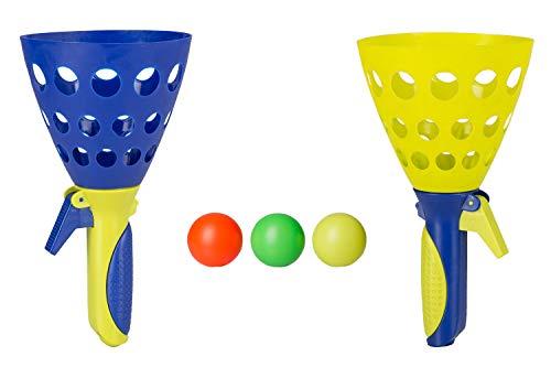Idena 40006 - Fangballspiel XXL mit 2 Fangbechern, inklusive 3 Bällen, Ballspiel für Garten, Park oder Strand