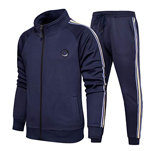 TOLOER Men's Casual Tracksuit Long Sleeve Full-Zip Running Jogging Sports Jacket and Pants Navy XX-Large