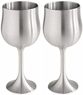Royal Selangor Hand Finished Sovereign Collection Pewter Wine Goblets (Pair) in Wooden Gift Box