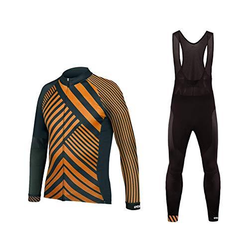UGLYFROG-A Designs Bicicletas Ropa Manga Larga Maillots +Pantalones Cortos La Correa Sets para Hombre Triatlon Clothes(Dos Piezas)