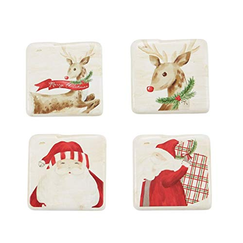 Mud Pie Christmas Tartan Resin Coaster Set