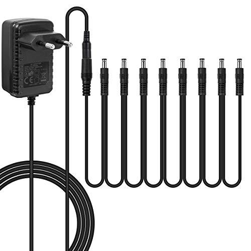 Netzteil des Gitarrenpedals DC 9V 2A UL-gelisteter Tipp Negativ geräuscharm für Gitarreneffektpedale (Adapter und Kette)