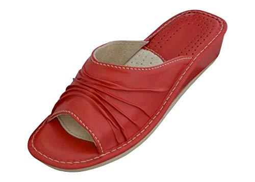 BeComfy Mujer Zapatillas por Casa Pantuflas Cuero Piel Beige Rojo Tacón Verano...