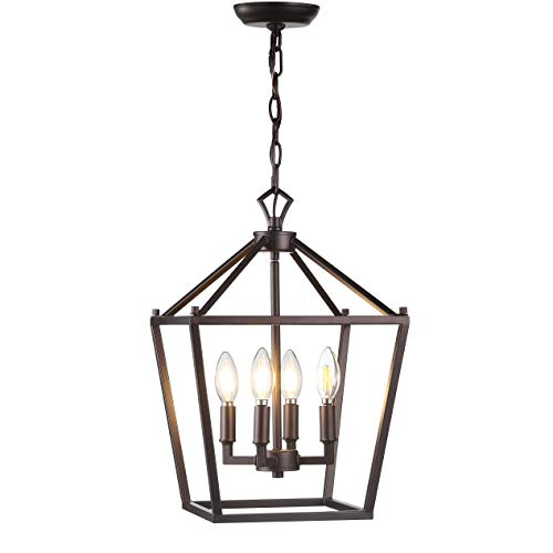 JONATHAN Y JYL7436A, Classic, Traditional Dining, Living Room, Kitchen Pagoda Lantern Dimmable Adjustable Metal LED Pendant, 12 in, Bronze