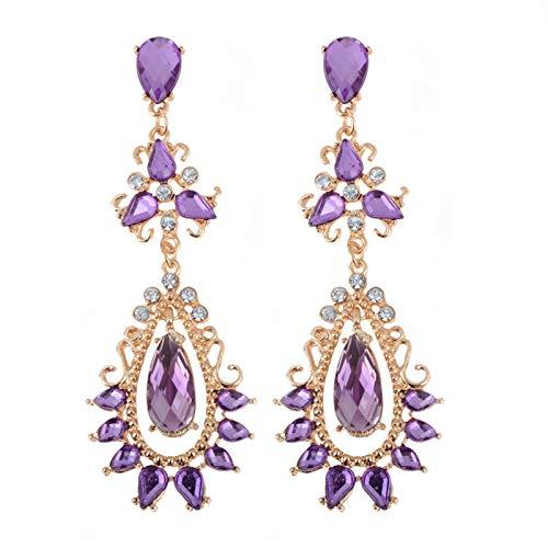 TLBB Estilo Bohemio Purpura Cristal Rhinestone Flor Pendientes Pendientes PIK PIK Gold Color Pendiente DE Gato Largo para joyería de Las Mujeres