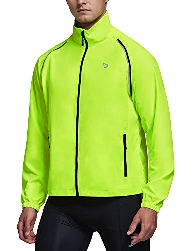 BALEAF Men's Cycling Jacket Running Vest Windbreaker Convertible Lightweight Visibility Reflective Windproof Sleeveless Fluorescent Yellow Size L