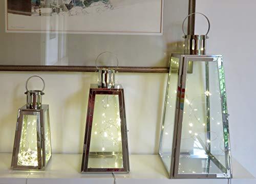 Lot de 3 lanternes en métal et verre avec lumières LED (triangulaire, plaqué argent) avec 20 lampes LED à l'intérieur de chaque lanterne