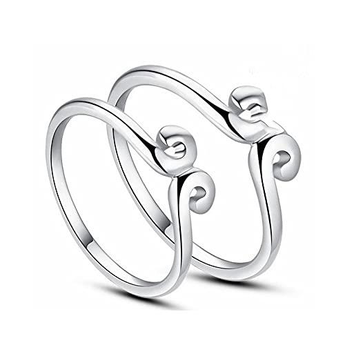 Anillo de joyería para hombre y mujer ajustable chapado en plata anillo de apertura para pareja