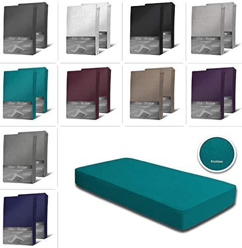 one-home 2er Pack Frottee Spannbettlaken Spannbetttuch 90x200 140x200 180x200 Baumwolle, Maße:90x200 cm - 100x200 cm, Farbe:Petrol
