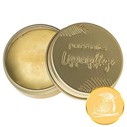 puremetics Zero Waste Lip Balm   100% tierversuchsfrei, vegan & plastikfrei   Lippenpflege   ohne Plastik   wiederverwendbarer Weißblech-Tiegel (Zitrone Vanille)