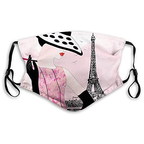 Winddichte Aktivkohle im Freien Ma-sk, Jugendzimmer, Sexy Frau mit Hut Rauchen vor dem Eiffelturm in Shabby Pink Design, Hellrosa Schwarz, Gesichtsdekorationen für Erwachsene