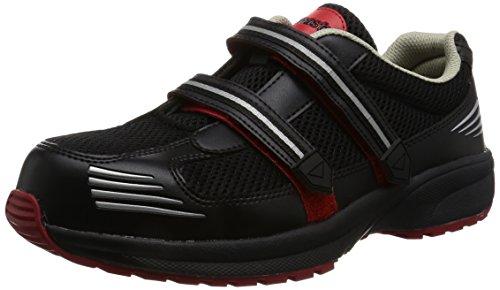 [ドンケル] Dynasty ライト 安全靴 スニーカー マジック式 軽量 通気メッシュ ハイテク樹脂先芯 JSAA B種 DL-23M メンズ ブラック・レッド 23.5