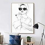 KWzEQ Paris Fashion Girl Lienzo Pintura Mural Modelo nórdico póster Imagen en Blanco y Negro decoración del hogar-Pintura sin marco50X70cm