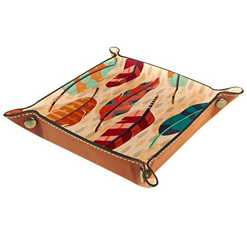 AITAI Bandeja de valet de cuero vegano organizador de mesita de noche de escritorio con diseño de plumas bohemio, estilo étnico