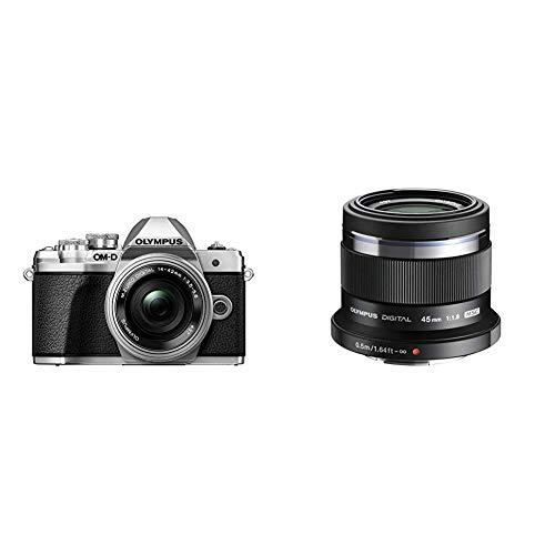 Olympus E-M10 Mark III Fotocamera con Obiettivo Pancake, Argento + Olympus V311030BE000 M.Zuiko Digital Obiettivo 45mm 1:1.8, Micro Quattro Terzi, per Fotocamere OM-D e PEN, Nero