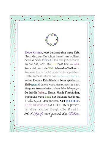 Rente Ruhestand Geschenk Abschiedsgeschenk: für Frau, Karte A4, Kunstdruck, personalisiertes Bild, Poster