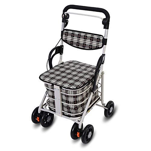 LYRWISHPB Shopping Trolley,Aluminum Wheeled Walker With Seat Fold Up And Removable Back Support Large Capacity Storage Bag Anti-slip Rubber Wheels for Seniors And Adults Trolley Exercise